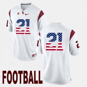 Men's Trojans #21 US Flag Fashion Adoree' Jackson college Jersey - White