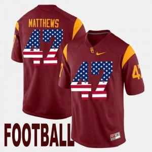 Men #47 Clay Matthews college Jersey - Maroon US Flag Fashion Trojans