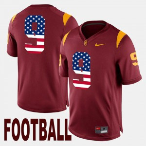 Men #9 USC Trojan US Flag Fashion JuJu Smith-Schuster college Jersey - Maroon