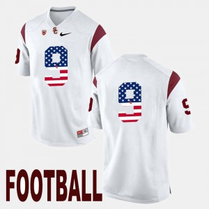 Men US Flag Fashion #9 Trojans JuJu Smith-Schuster college Jersey - White