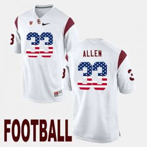 Men USC US Flag Fashion #33 Marcus Allen college Jersey - White