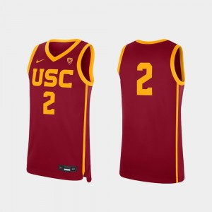 Mens #2 USC Replica Basketball college Jersey - Cardinal