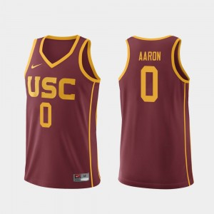 Men's #0 Replica Basketball USC Shaqquan Aaron college Jersey - Cardinal