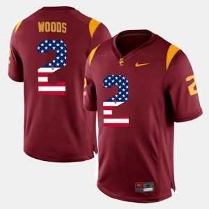Men's #2 US Flag Fashion USC Robert Woods college Jersey - Maroon