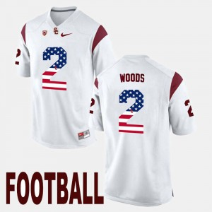 Mens US Flag Fashion USC #2 Robert Woods college Jersey - White