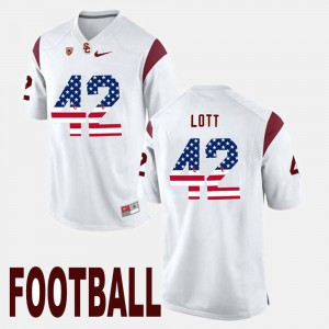 Mens US Flag Fashion USC #42 Ronnie Lott college Jersey - White
