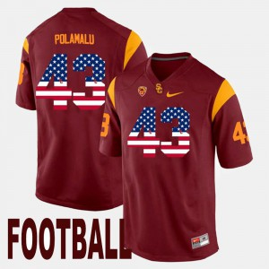 Men US Flag Fashion #43 USC Troy Polamalu college Jersey - Maroon