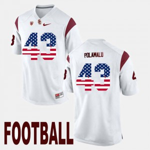 Men Trojans #43 US Flag Fashion Troy Polamalu college Jersey - White