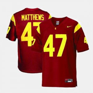 Men USC Trojan Football #47 Clay Matthews college Jersey - Red