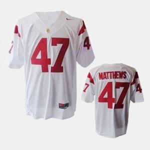 Mens #47 Football Trojans Clay Matthews college Jersey - White