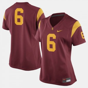 Womens Football USC Trojans #6 college Jersey - Cardinal