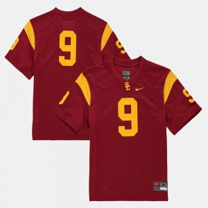 Kids #9 Trojans Football college Jersey - Cardinal