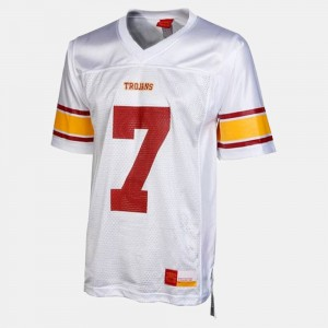 Men Football #7 USC Trojan college Jersey - White