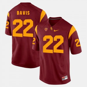 Men's Pac-12 Game USC Trojans #22 Justin Davis college Jersey - Red