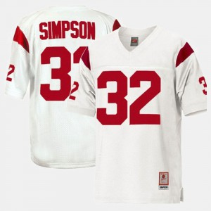 Men Football Trojans #32 O.J. Simpson college Jersey - White