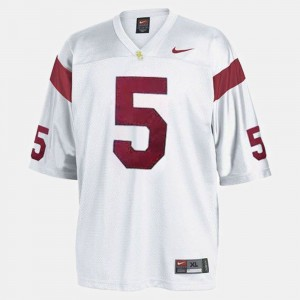 Youth Trojans Football #5 Reggie Bush college Jersey - White