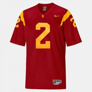 Mens #2 Football USC Trojan Robert Woods college Jersey - Red