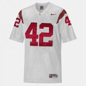 Mens #42 Football USC Trojans Ronnie Lott college Jersey - White