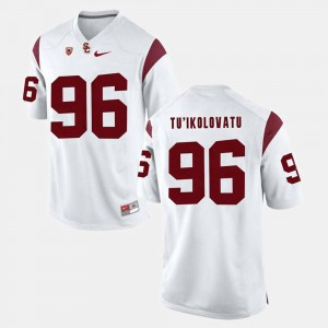 Men #96 Pac-12 Game Trojans Stevie Tu'ikolovatu college Jersey - White