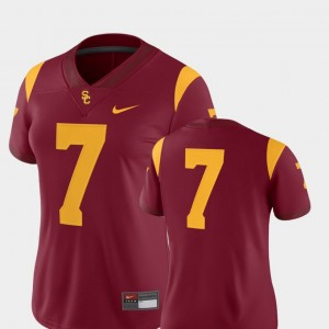 Ladies Football 2018 Game Trojans #7 college Jersey - Cardinal