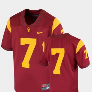 Youth Trojans Football #7 Team Replica college Jersey - Cardinal