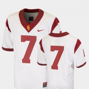 Kids Team Replica Football USC Trojan #7 college Jersey - White